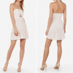 Pink & White Chiffon Halter Dress